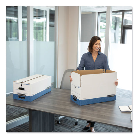 "Bankers Box STOR/FILE Medium-Duty Strength Storage Boxes, Letter Files, 12.25"" x 24.13"" x 10.75"", White/Blue, 4/Carton - White/Blue / Letter"