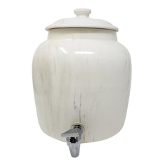 2.5 Gallon Porcelain Crock With Matching Lid - Off White Classic Marble