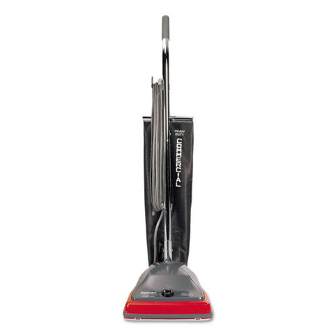 Sanitaire TRADITION Upright Vacuum with Shake-Out Bag, 12 lb, Gray/Red
