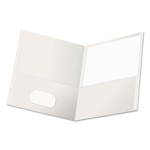 Universal Two-Pocket Portfolio, Embossed Leather Grain Paper, White, 25/Box - White / 11 x 8 1/2