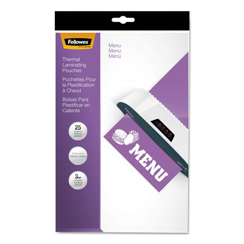 "Fellowes Laminating Pouches, 3 mil, 12"" x 18"", Gloss Clear, 25/Pack"