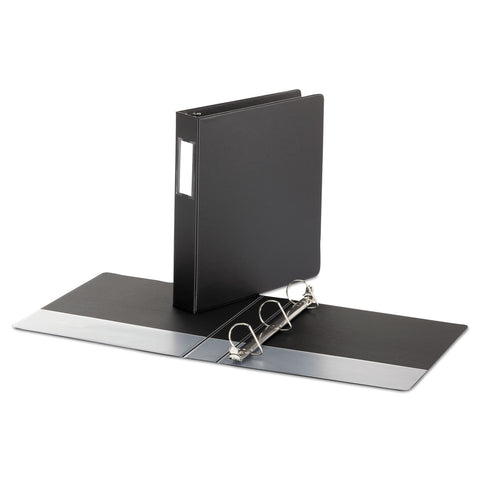 "Universal Deluxe Non-View D-Ring Binder with Label Holder, 3 Rings, 1.5"" Capacity, 11 x 8.5, Black"