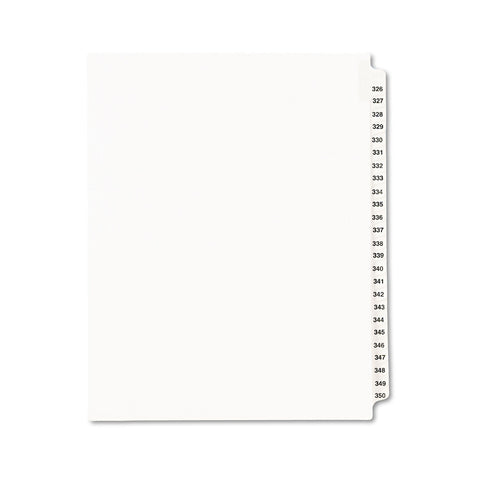 Avery Preprinted Legal Exhibit Side Tab Index Dividers, Avery Style, 25-Tab, 326 to 350, 11 x 8.5, White, 1 Set