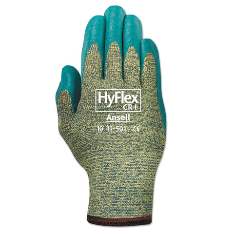 AnsellPro HyFlex Medium-Duty Assembly Gloves, Blue/Green, Size 10, 12 Pairs