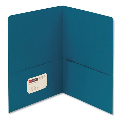 Smead Two-Pocket Folder, Textured Paper, Teal, 25/Box - Teal / 11 x 8 1/2