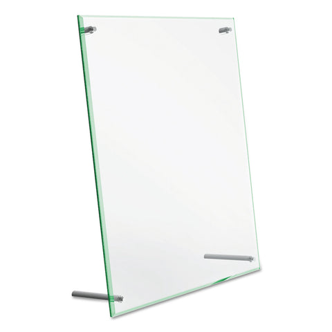 deflecto Superior Image Beveled Edge Sign Holder, Letter Insert, Clear/Green-Tinted Edges
