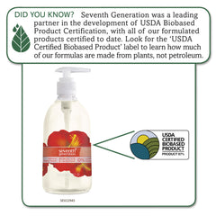 Seventh Generation Natural Hand Wash, Hibiscus & Cardamom, 12 oz Pump Bottle, 8/Carton