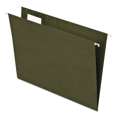 Pendaflex Earthwise by Pendaflex 100% Recycled Colored Hanging File Folders, Letter Size, 1/5-Cut Tab, Green, 25/Box - Green / Letter