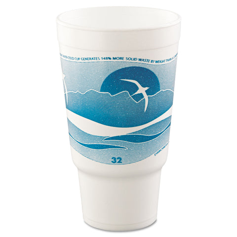 Horizon Hot/Cold Foam Drinking Cups, 32oz, Teal/White, 16/Bag, 25 Bags/Carton