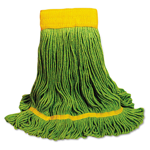 Boardwalk EcoMop Looped-End Mop Head, Recycled Fibers, Medium Size, Green - Green / Medium