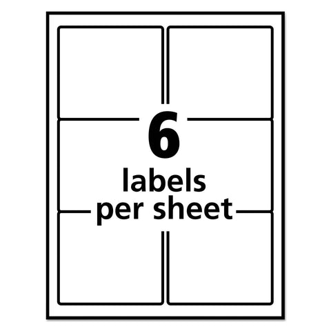 Avery Vibrant Laser Color-Print Labels w/ Sure Feed, 3 x 3 3/4, White, 150/PK
