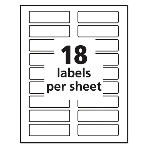 Avery Removable File Folder Labels with Sure Feed Technology, 0.94 x 3.44, White, 18/Sheet, 25 Sheets/Pack