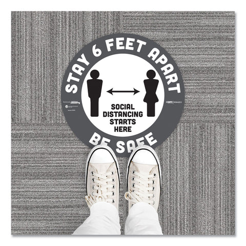 "Tabbies BeSafe Carpet Decals, Stay 6 Feet Apart; Be Safe, 12"" Dia, White/Gray, 6/Pack"