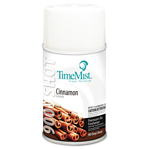 TimeMist 9000 Shot Metered Air Fresheners Refill, Cinnamon, 7.5 oz Aerosol, 4/Carton