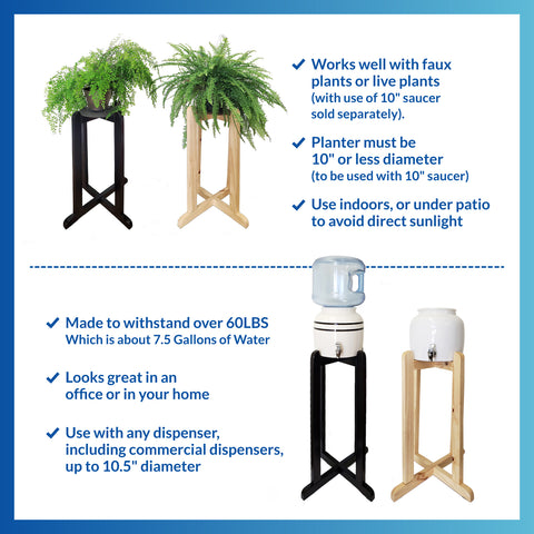 "For Your Water 30"" Natural Wood Painted Water Crock Dispenser Floor Stand - Natural - Natural / 30 Inches / Wood"
