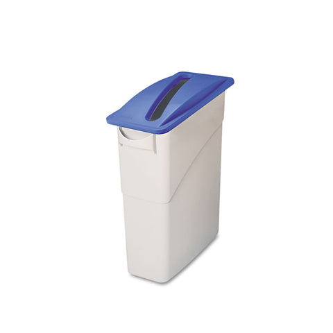 Rubbermaid Commercial Slim Jim Paper Recycling Top, 20.38w x 11.38d x 2.75h, Dark Blue - Dark Blue