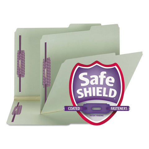 "Smead Recycled Pressboard Folders w/Two SafeSHIELD Fasteners, 2/5-Cut Tab, Right of Center, 2"" Exp, Letter Size, Gray-Green, 25/Box - Gray-Green / Letter"