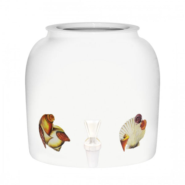 2.5 Gallon Porcelain Water Crock Dispenser With Crock Protector Ring and Faucet - Sea Shells