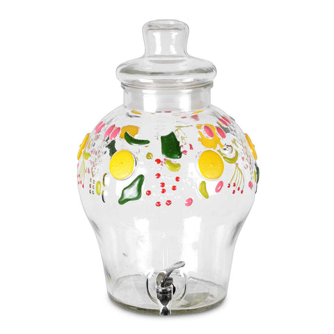 3 Gallon Glass Beverage Dispenser Crock With Fruit Design With Glass Lid