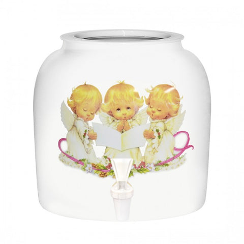 2.5 Gallon Porcelain Water Crock Dispenser With Crock Protector Ring and Faucet - Singing Angels