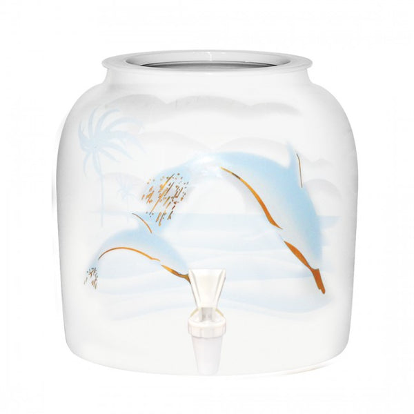 2.5 Gallon Porcelain Water Crock Dispenser With Crock Protector Ring and Faucet - Gold Trim Dolphins