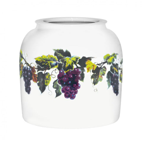 2.5 Gallon Porcelain Water Crock Dispenser With Crock Protector Ring and Faucet - Grape Leaves
