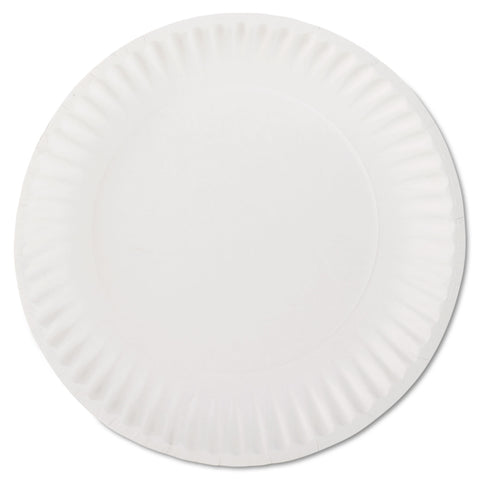 "AJM Packaging Corporation White Paper Plates, 9"" Diameter, 100/Bag"