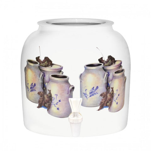2.5 Gallon Porcelain Water Crock Dispenser With Crock Protector Ring and Faucet - Autumn Jars