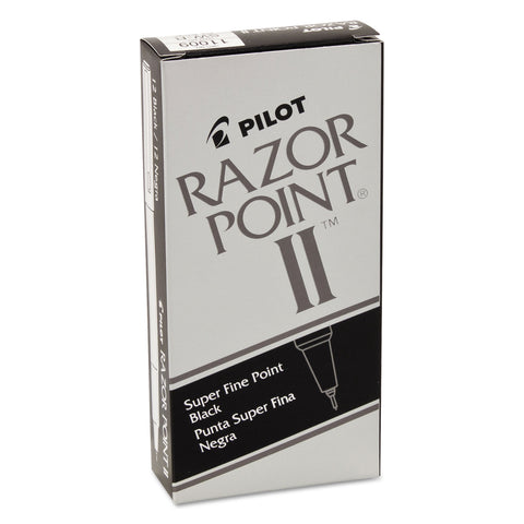 Pilot Razor Point II Stick Porous Point Marker Pen, 0.2mm, Black Ink/Barrel, Dozen