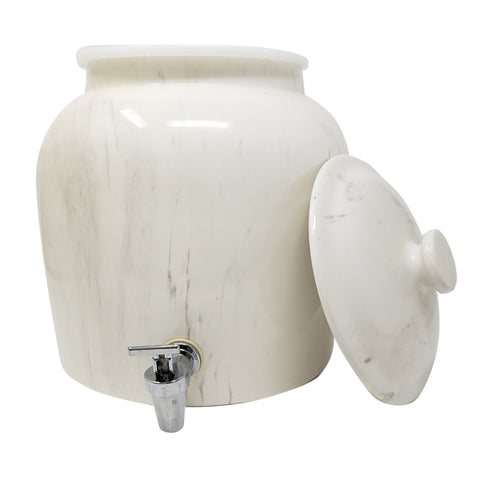 2.5 Gallon Porcelain Crock With Matching Lid, Ring and Faucet- Off White Classic Marble - 2.5 Gallon / Off White Classic Marble / Porcelain