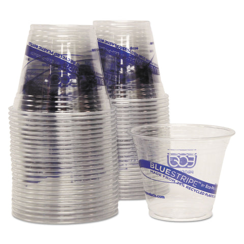 Eco-Products BlueStripe 25% Recycled Content Cold Cups Convenience Pack, 9 oz, 50/PK