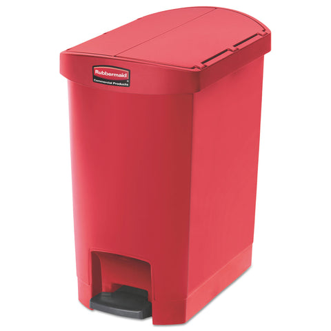 "Rubbermaid Commercial Slim Jim Resin Step-On Container, End Step Style, 8 gal, Red - Red / 12.25"" x 19.5"""