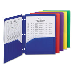 Smead Poly Snap-In Two-Pocket Folder, 11 x 8 1/2, Assorted, 10/Pack
