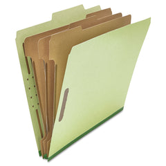 Universal Four-, Six- and Eight-Section Classification Folders, 3 Dividers, Letter Size, Green, 10/Box - Green / Letter
