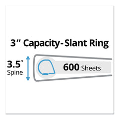 "Avery Durable View Binder with DuraHinge and Slant Rings, 3 Rings, 3"" Capacity, 11 x 8.5, White, 4/Pack - White / 3"""