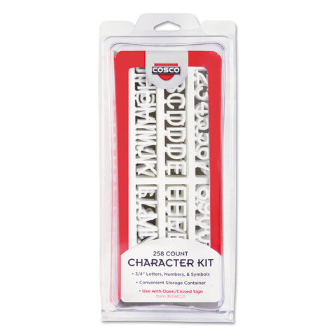 COSCO Character Kit, Letters, Numbers, Symbols, White, Helvetica, 258 Pieces