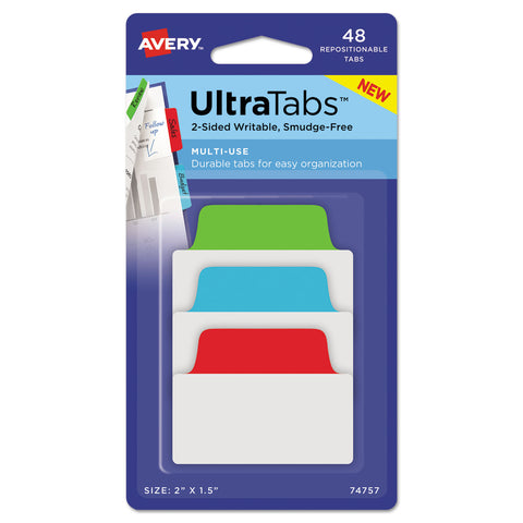 "Avery Ultra Tabs Repositionable Standard Tabs, 1/5-Cut Tabs, Assorted Primary Colors, 2"" Wide, 48/Pack"