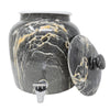2.5 Gallon Porcelain Crock With Matching Lid, Ring and Faucet- Black Blend Classic Marble