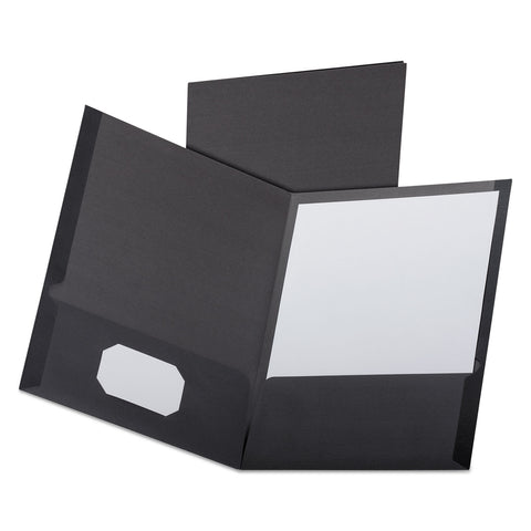 Oxford Linen Finish Twin Pocket Folders, Letter, Black,25/Box - Black / 11 x 8 1/2