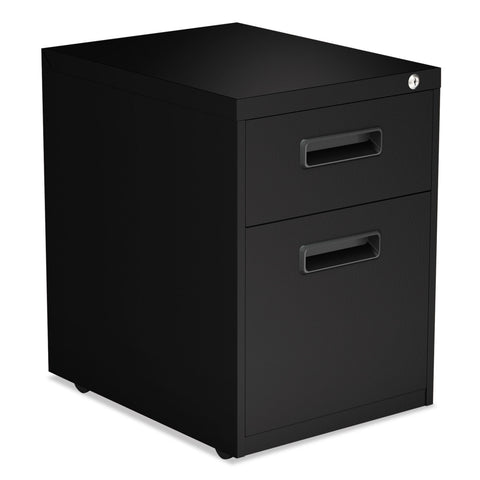 Alera Two-Drawer Metal Pedestal File, 14.96w x 19.29d x 21.65h, Black - Black / Legal; Letter