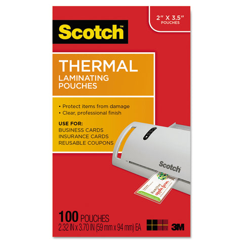 "Scotch Laminating Pouches, 5 mil, 3.75"" x 2.38"", Gloss Clear, 100/Pack"