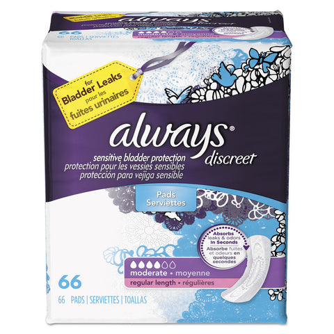 Always Discreet Incontinence Pads, Moderate, 66/Pack