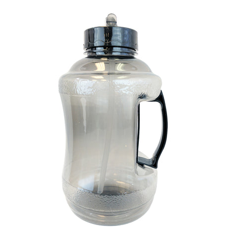 Water Bottle with Drinking Straw - Black