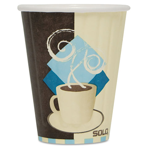 Dart Duo Shield Insulated Paper Hot Cups, 8oz, Tuscan, Chocolate/Blue/Beige, 1000/Ct - Chocolate/Blue/Beige
