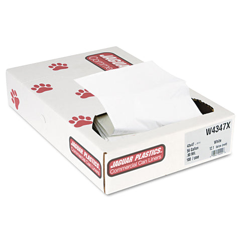"Jaguar Plastics Industrial Strength Low-Density Commercial Can Liners, 56 gal, 0.9 mil, 43"" x 47"", White, 100/Carton - White"