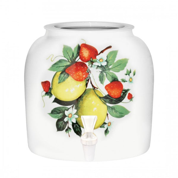 2.5 Gallon Porcelain Water Crock Dispenser With Crock Protector Ring and Faucet - Lemons & Strawberries
