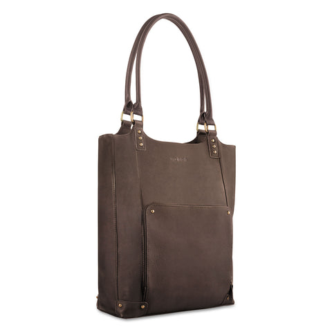 "Solo Executive Leather/Poly Bucket Tote, 16"", 15 1/2"" x 4 3/4"" x 17 1/4"", Espresso - Espresso / 16"""