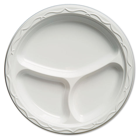 Genpak Aristocrat Plastic Plates, 10 1/4 Inches, White, Round, 3 Compartments, 125/Pack