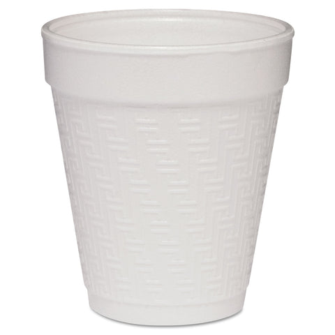 Dart Small Foam Drink Cup, 8oz, Hot/Cold, White w/Greek Key Design, 25/Bag, 40Bg/Ctn