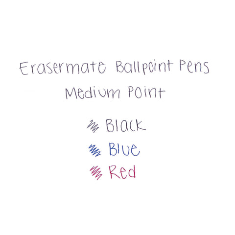 Paper Mate Eraser Mate Stick Ballpoint Pen, Medium 1mm, Red Ink/Barrel, Dozen